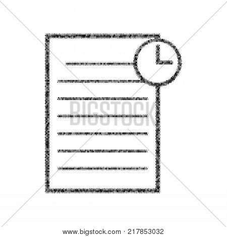 Check mark sign illustration. Vector. Black icon from many ovelapping circles with random opacity on white background. Noisy. Isolated.