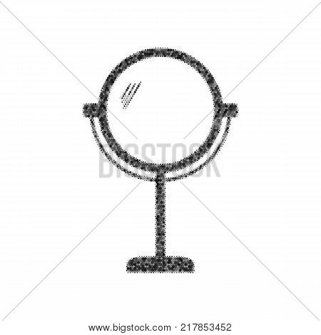 Mirror sign illustration. Vector. Black icon from many ovelapping circles with random opacity on white background. Noisy. Isolated.