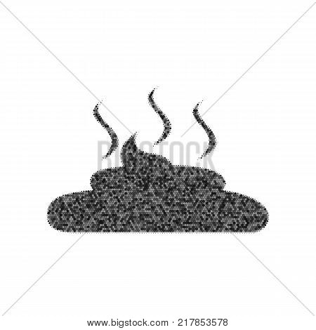 Simple Poop sign illustration. Vector. Black icon from many ovelapping circles with random opacity on white background. Noisy. Isolated.