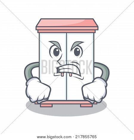 Angry cabinet character cartoon style vector illustration