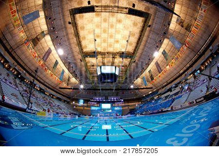 BARCELONA, SPAIN - JULY, 24: Palau Sant Jordi before a Solo Synchronised Swimming event of World Championship BCN2013 on July 24, 2013 in Barcelona Spain
