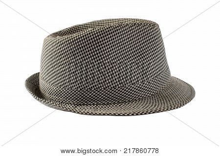 Isolated hat on a white background. Hat in a black and white square