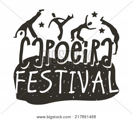 Capoeira Brazilian dance logo of festival origin poster, martial art and dance form with acrobatic movements. Vector flat style black and white illustration