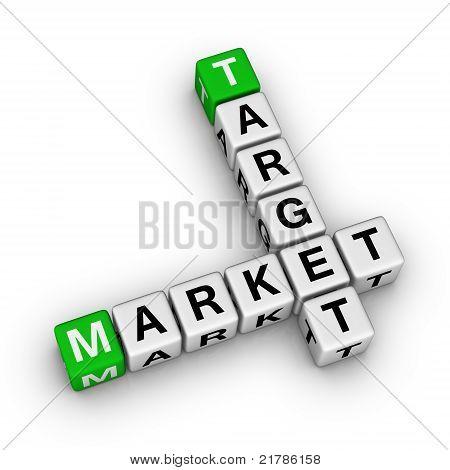 target market crossword symbol (high reolution 3d image for your design green white crossword series) poster