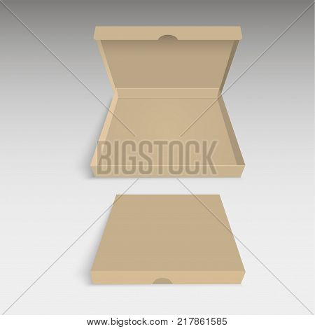 Blank of pizza box. Brown pizza packing box. Vector