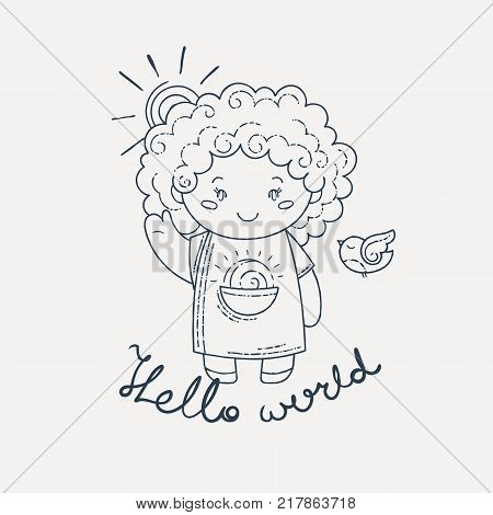 Cute and happy girl say hello. Vector illustration.