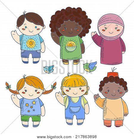 Set of cute doodle children. Kindergarten, camp, people collection. Vector illustrations.