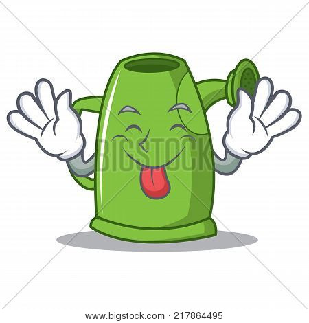 Tongue out watering can character cartoon vector illustration