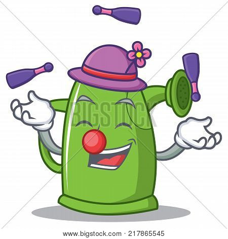 Juggling watering can character cartoon vector illustration