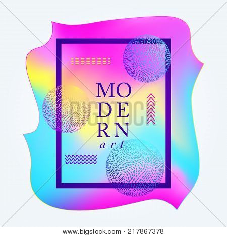 Modern colorful poster with striped balls.Vector illustration.