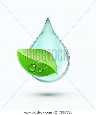 Vector illustration of green environment concept with blue water drop and green leaf isolated on white background