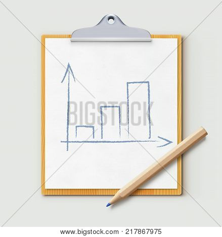 Vector illustration of productivity concept with clipboard and sharpened detailed wooden pencil