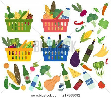 Set of shopping baskets full of organic and healthy food. Content of baskets. Groceries products. Grocery store. Fresh organic food and drinks. Vector illustration in flat style