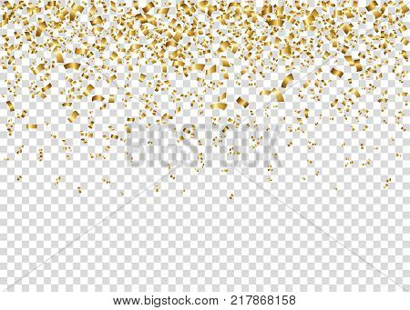Gold Shiny Serpentine Ribbons Isolated On Transparent Background.