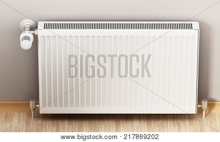 Adjustable radiator thermostat which controls the heat. 3D illustration.
