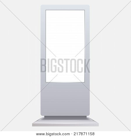 Advertising digital signage mockup isolated on white background. Multimedia stand template. Outdoor Advertising POS POI Stand Banner Or Lightbox. Stand digital signage with blank screen. poster
