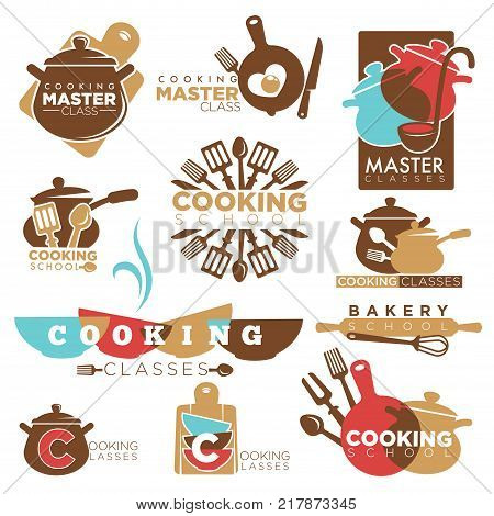 Cooking school or chef master class logo templates. Vector isolated icons of cookware pans, cutlery knife and fork or spoon for bakery cooking school best cook chef classes show