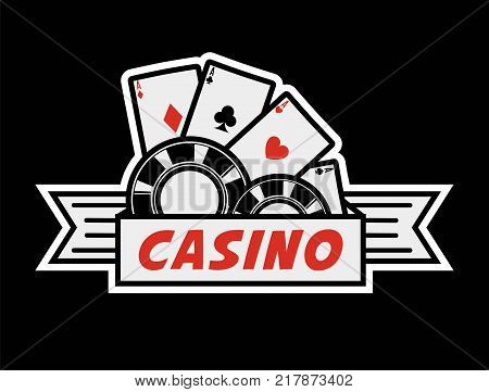 Casino poker logo template. Vector gambling cards and chips isolated icon for online bet and internet casino game