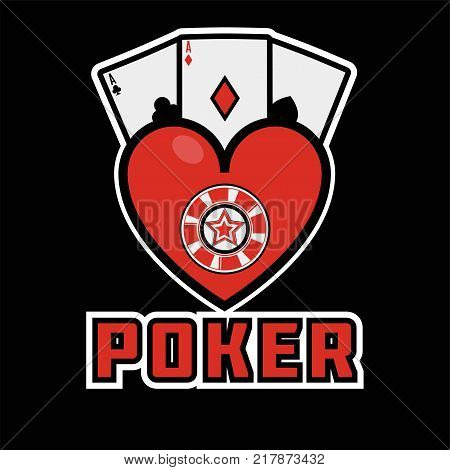 Poker casino logo template. Vector online bet gambling and internet casino game isolated symbol of gamble poker cards, roulette or wheel of fortune and hear suit
