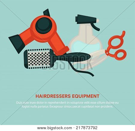 Hairdresser equipment poster for beauty salon. Vector flat professional coiffeur hair dryer, hairbrush comb or hairdressing scissors and hair styler