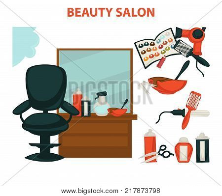 Hair beauty or woman hairdresser salon interior poster of equipment tools for dyeing, haircut and perm styling. Vector coiffeur scissors or hairbrush comb and and perm styler