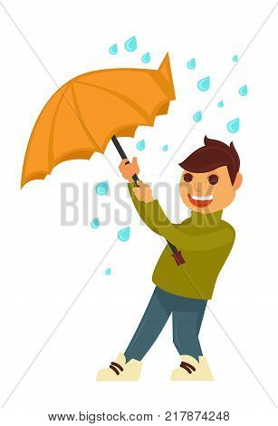 Rain weather and happy boy under umbrella against wind. Smiling child in rainy day of autumn season with raining drops. Vector flat isolated icon