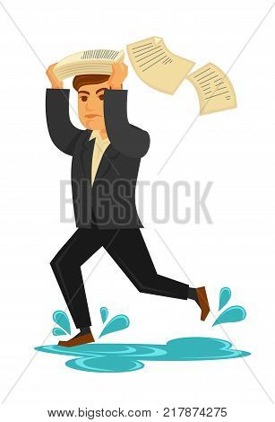 Rainy weather and man saving from rain under paper or newspaper over head. Man running in puddle with splashes under raining drops. Vector flat isolated icon
