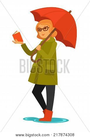 Rain weather and woman or young girl under umbrella reading book. Adult woman read standing in puddle in rubber boots in rainy day of autumn season. Vector flat isolated icon