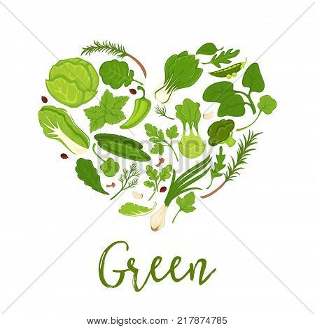 Vegetables and green lettuce salads heart poster for healthy detox diet. Vector cucumber, kohlrabi or broccoli cabbage and onion, onion leek and farm grown parsley or dill and arugula or spinach