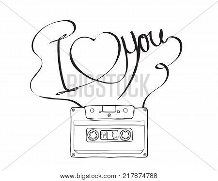 Compact Cassette or Musicassette and hand drawn i love you cassette tape audio cassette with analog magnetic tape vector illustration line art