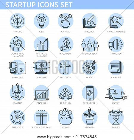 Startup line icons vector set. Isolated symbols of startup business project concept for money investment, digital development, consumer idea insight, profit income or team success achievement