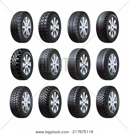 Car tires 3D icons. Vector car tire or tyre different types with tread protector pattern and metal wheel isolated set on white background