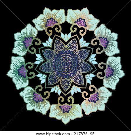 Drawing of a floral mandala in violet, blue and turquoise colors on a black background. Hand drawn tribal vector stock illustration