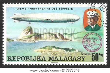 Malagasy Republic ( Madagascar ) - stamp printed 1976 Multicolor memorable Edition offset printing Topic Aviation Series 75 years Zeppelin airship Airship LZ -127 Graf Zeppelin over Rio de Janeiro
