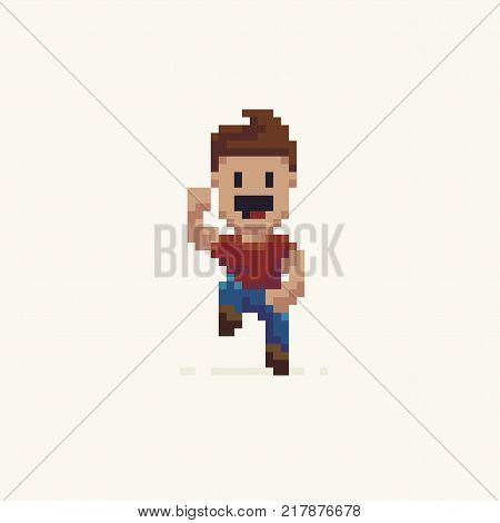 Pixel art happy jumping male character in red t-shirt