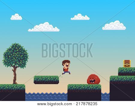 Pixel art nature game scene with jumping character