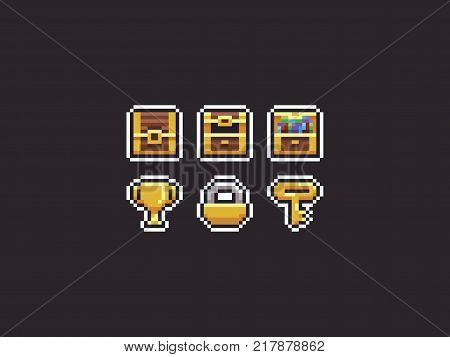 Pixel art icons with closed and open treasure chest, golden cup, lock and key
