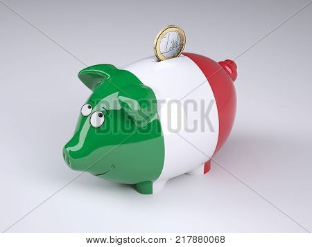 Piggy bank with Italian flag and one euro coin 3D illustration