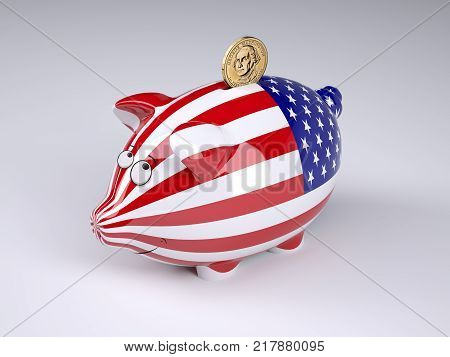 Piggy bank with USA flag and golden dollar coin 3D illustration