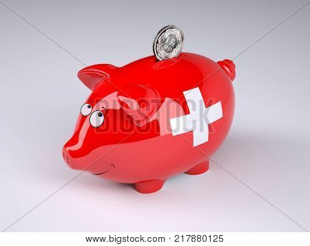 Piggy bank with swiss flag and golden franc coin 3D illustration