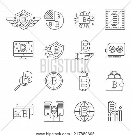 Blockchain, Cryptocurrency icons set. Bitcoin, mining, BTG BTC blockchain coin Editable Stroke