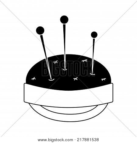 contour pin and pincushion sewing tool object vector illustration
