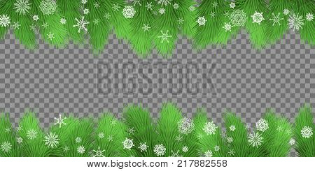 Christmas card. Holiday background with fir twigs and snowflakes on transparent background. Evergreen tree branches border. Vector illustration eps 10