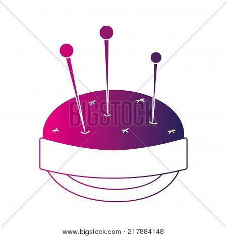 silhouette pin and pincushion sewing tool object vector illustration