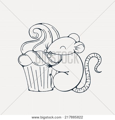 Illustration with cute rat with cupcakes. Coloring page. Vector image.