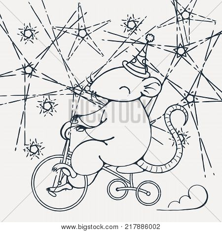 Illustration with a circus rat on a bike. Coloring page. Vector image.