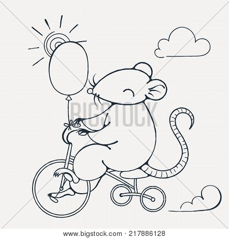 Illustration with a cheerful rat on a bike with balloon. Coloring page. Vector image.