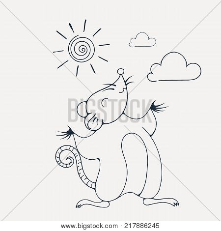 Illustration with a cheerful rat playing under the sun. Coloring page. Vector image.