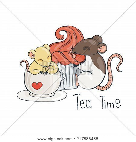 Illustration with cute rat in a cup of tea or coffee with cupcakes. Vector image.