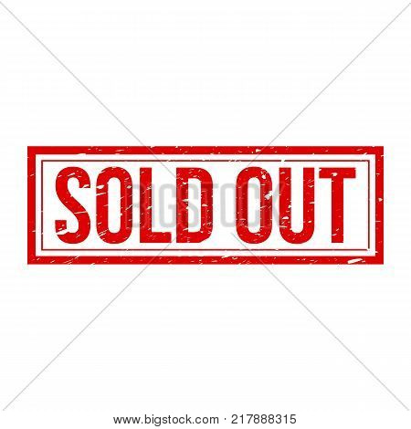 Sold out sign with grunge texture. Rectangular red stamp isolated on white background